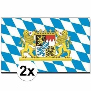 Duitse 2x landenvlaggen bayern/bijeren