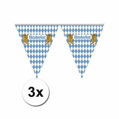 Duitse 3x vlaggenlijn blauw wit geblokt