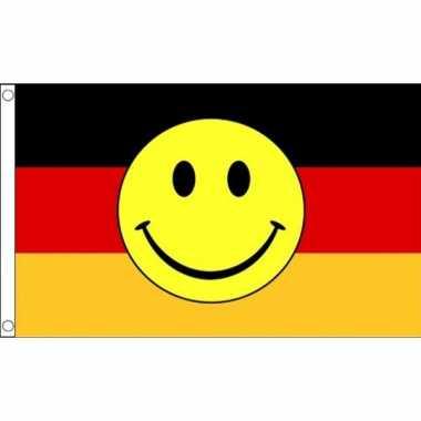 Duitse vlag gele smiley 90 150